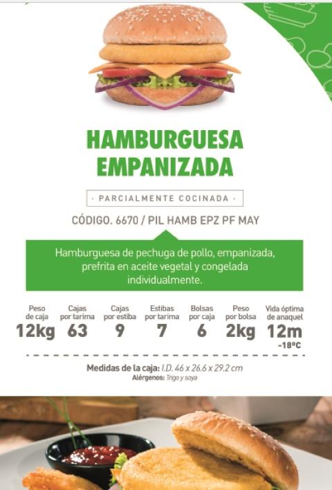 6670 premium hamburguesa empanizada
